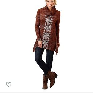 Roper Brand Embroidered Cowl Neck Tunic Sweater